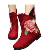 Peacock Vintage Beijing Cloth Shoes Embroidered Boots jujube 35 - $38.99