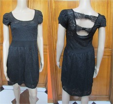 Calvin Klein Black Lace Open Back Cap Sleeve Fit N Flare Sz 2 NWT - $48.20