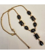 Avon Black Y Necklace NEW Faceted Geometric Teardrop adjustable Gold Ton... - $23.76