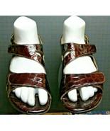 Women's Clarks Artisan Faux-Croc Brown Patent Leather Slingback Sz 8.5 E... - $22.42