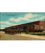 LINEN POSTCARD-SAMPSON AIR FORCE BASE,GENEVA, NY-TRAINEES OUTSIDE MESS H... - $2.94