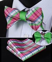 Men  Bow Tie Set Plaid Double Sided Jacquard Self Dual-use Bowtie - $23.23