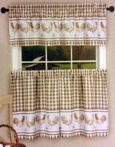 3 pc Kitchen Curtains Set, ROOSTERS BARNYARD, 58x14 & 58x36, Taupe by Achim - $17.81