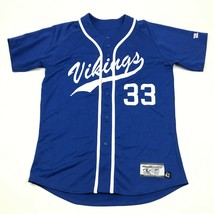 VINTAGE Vikings Baseball Jersey Men's Size 42 Baggy Fit Sewn On Royal Bl... - $31.30
