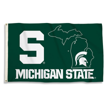 Michigan State Spartans with State Outline 3'x5' Flag with Grommets  - $35.95