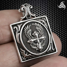 Medieval Double Eagle Cross Pendant Sterling Silver SCA Larp Germanic - $30.03