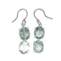 Shine Jewel 925 Sterling Silver Green Duplicate Amethyst Dangle Earring - $18.97