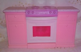 Barbie Doll Pink Kitchen Stove Oven Counter Furniture 1996 - $13.99