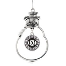 Inspired Silver 13.1 Runners Circle Snowman Holiday Decoration Christmas Tree Or - $14.69