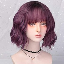 Purple Wavy Bob Wigs for Women Short Curly Wavy Synthetic Wig with Air B... - $28.03