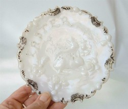 Antique Dithridge Milk Glass Easter Plate Bunny Rabbits in Garden Victorian - $24.25