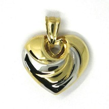 """18K YELLOW WHITE GOLD ROUNDED HEART PENDANT, SPIRAL, 1.4 CM, 0.55"""", TWO TONE image 2"""