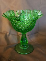 Fenton Art Glass Lime Green Hobnail Ruffled Footed Comport - $29.95