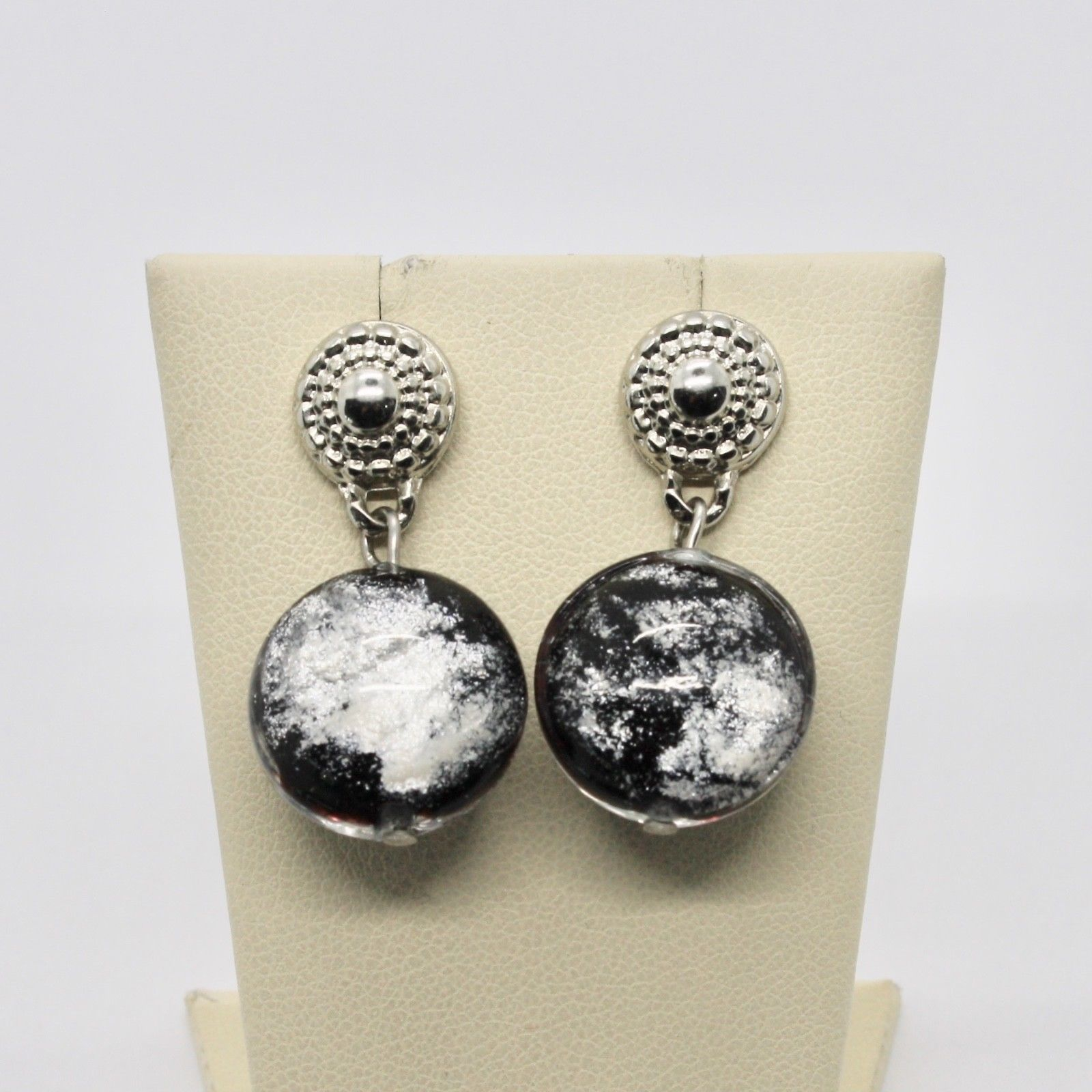 ANTICA MURRINA VENEZIA EARRINGS WITH MURANO GLASS BLACK WHITE SILVER OR417A14