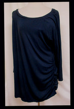 PIP & VINE Maternity Ultra Soft Rayon Stretch Navy Pullover Ruched Sides... - $19.59