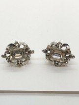 Vintage Silvertone Rhinestone Coro Signed Screwback Earrings Missing Stones - $8.90