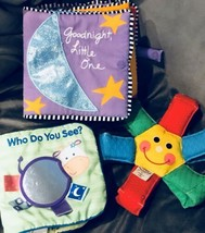 Lot of 3 baby soft plush toys Activity Learning Books B34 - $22.60