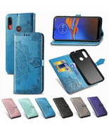 For Motorola Moto G9 Plus Play E6 G Pro G8 Power Patterned Leather Walle... - $60.45