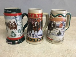 Set of 3 Budweiser Clydesdale Holiday Beer Steins 90's Winter Theme - $31.78