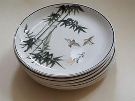 vintage NikoNiko 6 DESSERT PLATES mid century modern Japanese birds blac... - $47.50