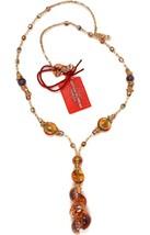 Necklace Antica Murrina Venezia with Murano Glass Beige & Amber CO871A10 - $86.77