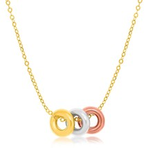 14k Tri-Color Gold Chain Necklace with Three Open Circle Accents - $136.81