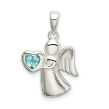 Sterling Silver 925 Angel with Light Blue CZ Heart Charm Pendant 0.99 Inch - $24.49