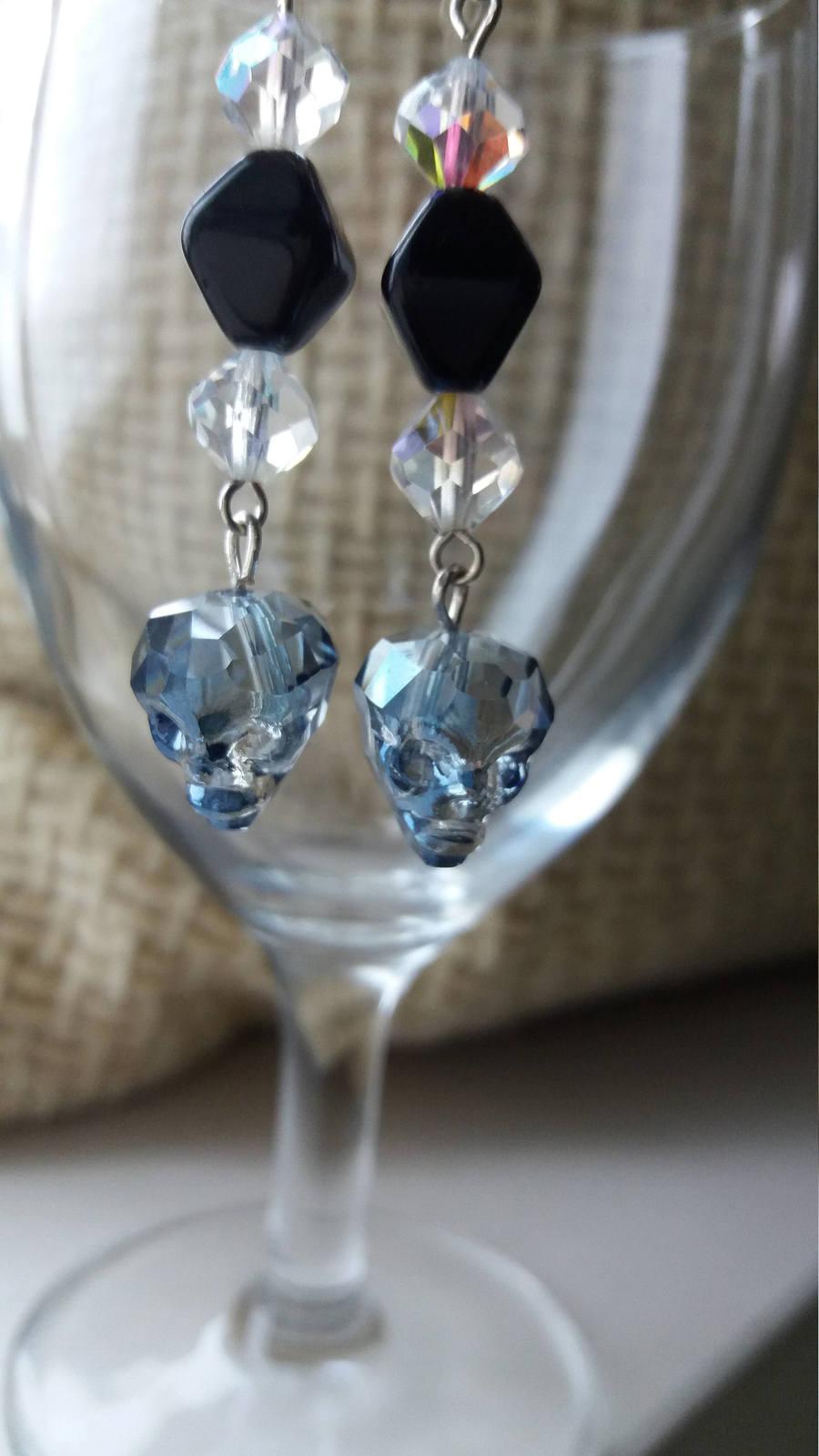 Swarovski crystal Skulls earrings Wedding jewelry Gift for her Crystal earrings  image 4