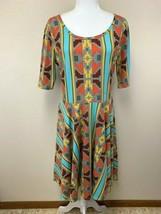 Lularoe Vintage XL Southwestern Stripe Print Nicole Dress Gray Orange Aqua - $29.99