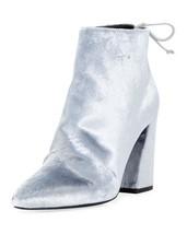 Stuart Weitzman Womens Grandiose Velvet Block Heel Ankle Booties 7.5 Silver Grey - $257.59
