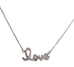 Cubic Zirconia Elegant Girls Womens Clear Cz Tiny Mini Miniature Love Necklace - $29.95