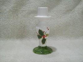 Vintage Hallmark Jan Karon Christmas with Holly Motif Taper Candle Holder  - $14.00