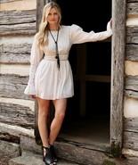 Free People Victorian Waisted Mini Dress 4 S Ivory OB714348 Crochet Lace... - $59.95