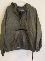 Men's GAP Nylon Hooded Pullover Windbreaker Jacket Size S Thailand Green Khaki - $28.50