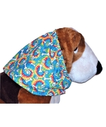 Blue Tie Dye Paw Prints Bones Cotton Dog Snood by Howlin Hounds Puppy RE... - $10.50