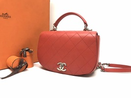 AUTHENTIC CHANEL CORAL RED 2-WAY QUILTED CALFSKIN TOP HANDLE FLAP BAG image 4
