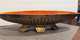 """MAURICE OF CALIFORNIA MID CENTURY MODERN GOLD CENTER TABLE BOAT BOWL. 18.5"""" - $40.11"""