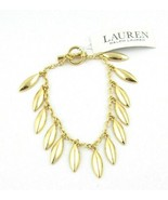 Ralph Lauren Gold Tone  Chain Leaf Charms Toggle Bracelet NWT $64 - $30.23