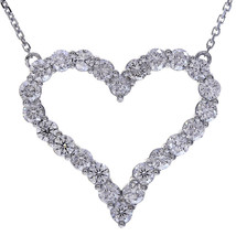 "1.90 Carat Round Cut Diamond Heart 16"" Necklace 14K White Gold - $1,352.34"