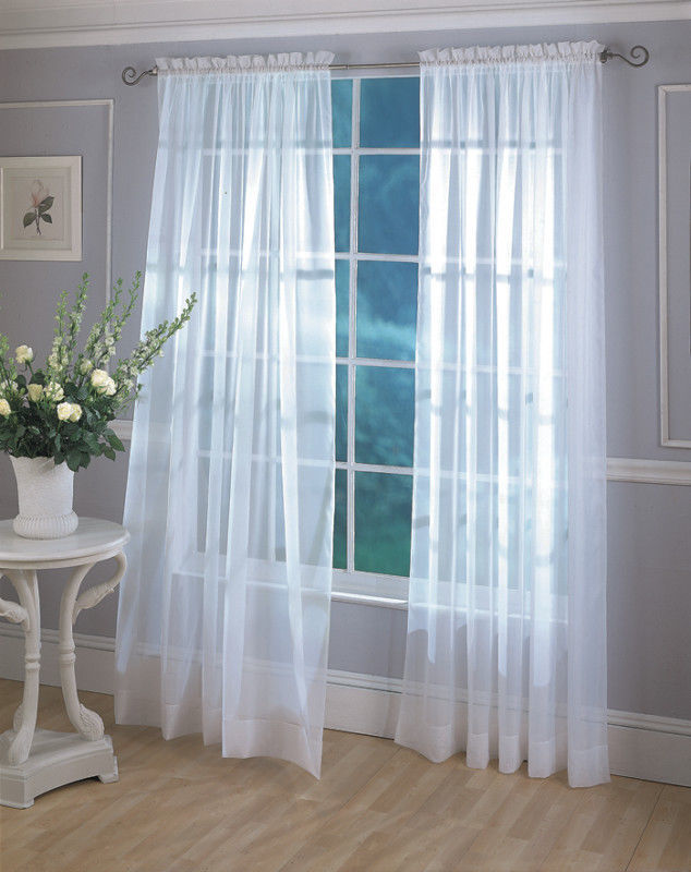 "2 Monte Carlo Sheer Voile Panels, each 60""x 84"" - Ivory - $18.99"