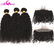 Ali Coco Brazilian Kinky Curly 3 Bundles With Frontal Human Hair Lace Frontal Cl - $300.20
