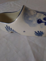 "Vintage 7"" Delft Blue Porcelain Dutch Shoe Hand Painted Windmill Holland  Hole  image 5"