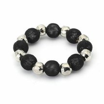 Black Mesh Beads Silver Faceted Fun Stretch Colorful Bracelet - $4.90