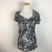 New York & Co. Women's Gray Short Sleeve Cheetah Print Ruched Shirt Size... - $12.59