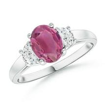 Three Stone 1.1tcw Pink Tourmaline and Diamond Ring Gold/Silver/Platinum - $1,877.78+