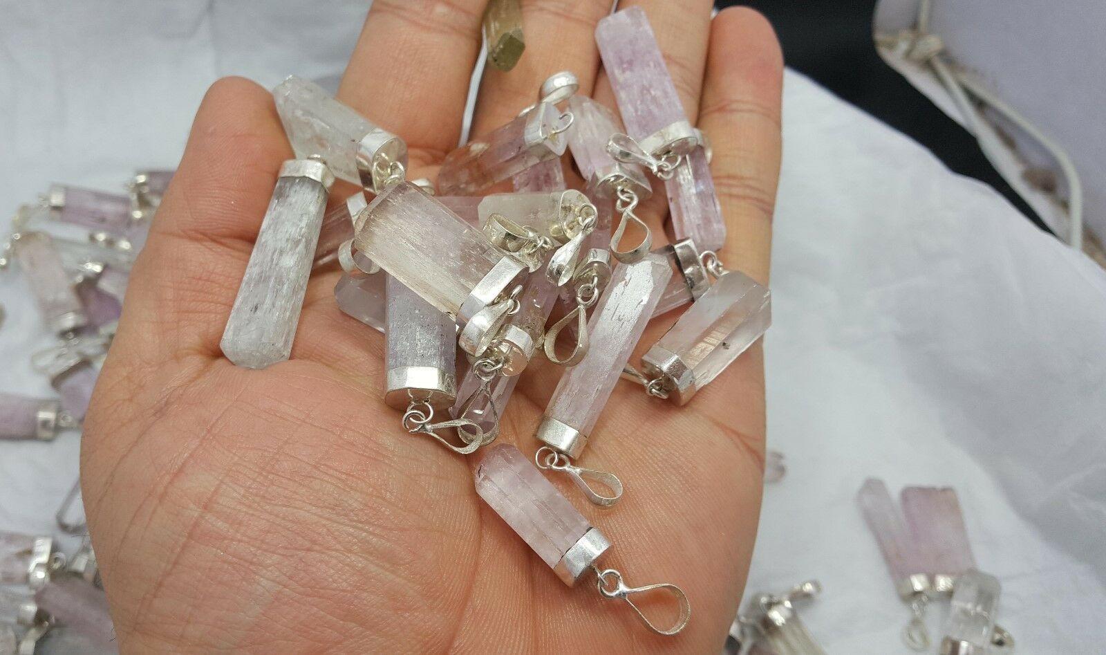 Natural Sterling silver Multicolor Kunzite necklaces pendants long 10PC lot - $44.55