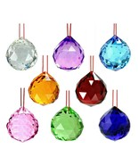 8 MIXED COLOR FENG SHUI CRYSTALS 30mm Hanging Faceted Rainbow Prism Sun ... - $16.95