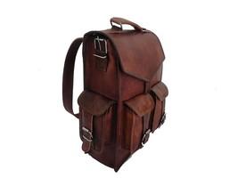 """16x12"""" Brown Leather Backpack Rucksack Laptop Shoulder Bag Messenger Bag - $56.74+"""