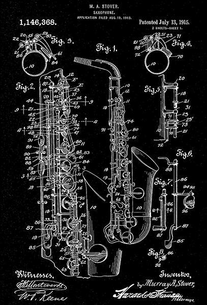Primary image for 1915 - Saxophone - M. A. Stover - Patent Art Poster