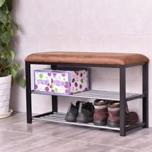Shoe Rack Bench Entryway Storage Shelf Organizer Metal Cushioned Seat Fu... - £51.79 GBP